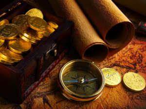 Gold Doubloons and Pirate Map the long goodbye